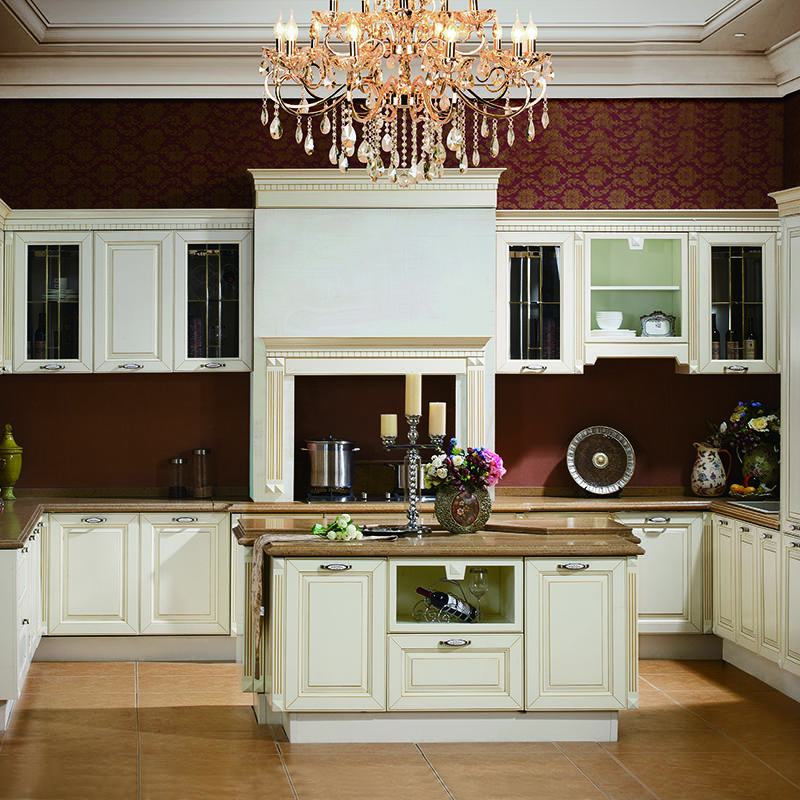 Premium European Style Stainless Steel Modular Kitchen Cabinet with Gold Gilt - G006 Buckingham Palace