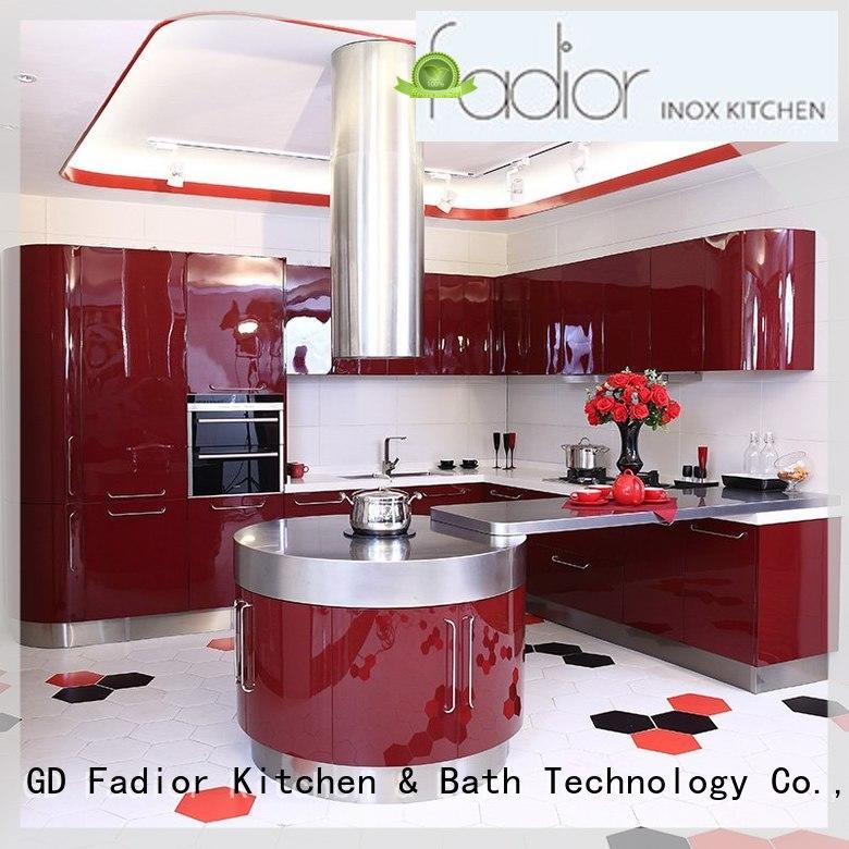 curve kitchen cabinet legs stainless steel with good price for hotel Fadior Stainless Steel Kitchen Cabinets
